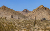 Distant view of the Nevada ghost town in the Rhyolite Historic Townsite