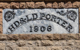 Sign on the façade of the Porter Brothers supply store in the Rhyolite Historic Townsite