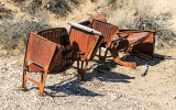 Rusting theater seats in the Rhyolite Historic Townsite