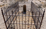Cast iron protected gravesite in the Rhyolite Historic Townsite