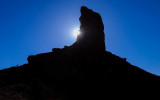 The early morning sun from around Castle Butte in Valley of the Gods