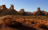 The Rudolph and Santa Claus formation, Stagecoach Rock and Castle Butte as the sun sets in Valley of the Gods