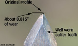 A well worn cutter tooth