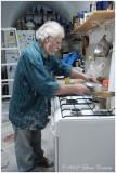 Avraham Moyal, Jerusalem sculptor, Artist (creating in the kitchen)
