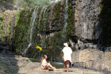 Walked to bottom of falls, where people were enjoying the nice weather