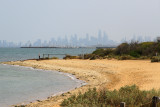 Found my way to the beach right below the bathing boxes. Melbourne is in background, smoky/hazy due to fires.