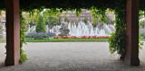 Fontänerna sedda från sidan, nära Wasserturm, Mannheim, Tyskland