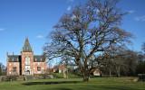 Stor ek framför stort hus, Trollenäs slott i Skåne