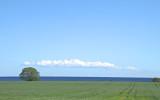 Former, linjer, färger, himmel och hav och i bakgrunden Bornholm