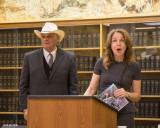 Public Lands Commissioner Hilary Franz with Jeff Chapman