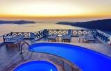 Sunset view to the Aegean sea at Imerovigli, Santorini.