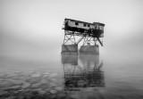 old coal loader in the fog