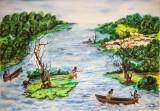 River Scene Watercolor