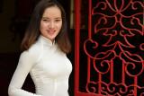 Woman in Classic Ao Dai Dress