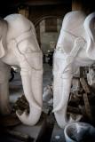 Hand-sculpted Marble Elephants