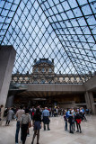 Inside I.M. Pei's Glass Pyramid at LeMusée du Louvre