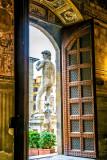 Reproduction of Michelangelo's David on the Palazzo Vecchio