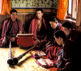 Monks Studying Buddhist Texts