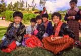 Girls Relaxing Outside Wangdi Dzong