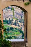View through hotel ruins