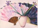 Three Irises, Two Fans