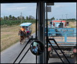A normal view from the bus on the main road