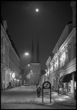 Växjö cathedral and full moon
