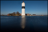 Lots of water around the lighthouse Långe Jan late winter