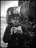 Preparing for ride with a steam engine - Vetlanda