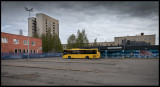 Malmberget bus square with grafitti