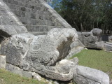 Serpent heads at the base of the stairway