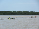 Shrimp fishermen - walking through the water...