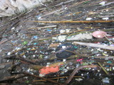 Plastic rubbish pools in the cave - what a shame
