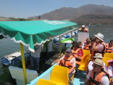 A drinks and snacks boat at the dam