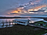 Dock and outbuilding, sunset
