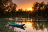 Blue Boat Sunset