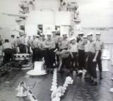 1956-57 - RAMON RIGG, GANGES BOYS ON HMS SUPERB'S FOCASTLE, ANCHORED OFF SHOTLEY..jpg