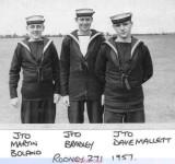 1957, APRIL - BRUCE EVANS, RODNEY 271 CLASS.  E. JTO MARTIN BOLAND, JTO BRADLEY, JTO DAVE MALLETT..jpg