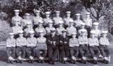 1961, 12TH SEPTEMBER - FRED WALSH, 43 RECR., BENBOW DIV., 128 CLASS, LT. ALGIE SCOVELL, INSTR. CPO ME MARRION, F