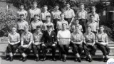 1961, JUNE - COLIN KING, EXMOUTH, 332 CLASS, DO LT. WHEATLEY, INSTR. RS EDWARDS, I AM FRONT ROW LEFT, DAVE DOWNEY NEXT TO ME, PL