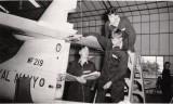 1965 - BOYS UNDER INSTRUCTION ON THE SEA HAWK INSIDE THE HANGAR AT GANGES..jpg