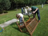 2017 AUGUST - CAPT DUNLOP'S BENCH 1 BEING REFURBED BY TOPSEY AND GRANDAUGHTER..jpg