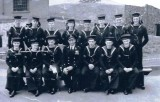 1953, 9TH JUNE - COLIN BROWNE, DRAKE, 38 MESS, 311 CLASS, CHIEF YEOMAN COVERDALE, I AM ON HIS LEFT, THEN CHRIS BRACEY.