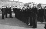 1964-65 - RON BAIRD, 72 RECR., FROBISHER, 181 CLASS. CAPT. PLAICE INSPECTING SUNDAY DIVISIONS.