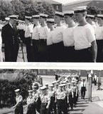 1970, JUNE - DAVE LENNON, 18 RECR., LEANDER MARCHING FROM ANNEXE TO MAIN, CAPT. BUTTON INSPECTING DRAKE, 20 MESS, ON PARENTS DAY