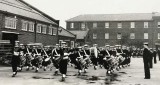 1971, EARLY - JEFF PIGGOTT, I AM FRONT RANK OF DRUM, 4TH FROM RIGHT. NOTE 2 DRUM MAJORS..jpg