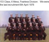 1976, 6TH APRIL - LAST RECRUITMENT, FEARLESS DIV., 153 CLASS, 6 MESS, PO ASHTON,.png