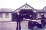 1976, 8TH JUNE - PETER FULLARTON, AFTER LAST PASSING OUT PARADE AT GANGES, MYSELF ON QUARTERDECK..jpg