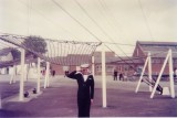 1976, 8TH JUNE - PETER FULLARTON, AFTER LAST PASSING OUT PARADE AT GANGES, MYSELF UNDER THE SAFETY NET..jpg