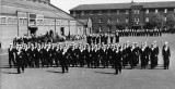 1958, 10TH JUNE - DAVE PARRY, 14 RECR., HAWKE, 47 MESS, 242 CLASS, PO TEL, ANSTEY, HAWKE DIV. ON PARADE, I AM 8TH FROM THE RIGHT